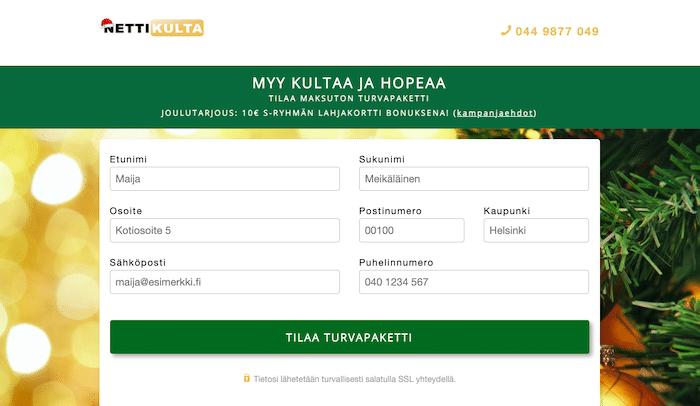 Kuva Nettikulta.fi:n etusivulta